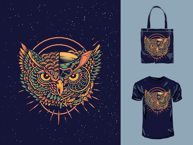 Vintage mechanic robot owl t-shirt design