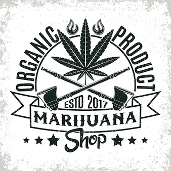 Vintage medicinale cannabis logo, grange print stempel, creatieve marihuana typografie embleem,
