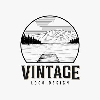 Vintage meer landschap logo ontwerp inspiratie
