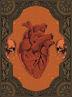 Vintage menselijk hart op gravure ornament vlam