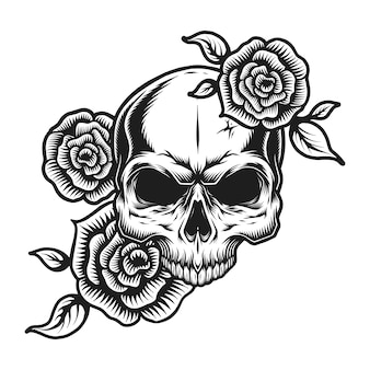 Vintage menselijke schedel tattoo concept