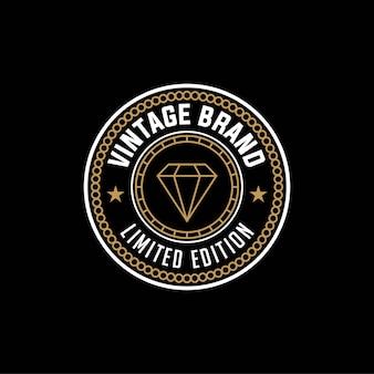 Vintage merk limited edition, diamanten logo ontwerpsjabloon