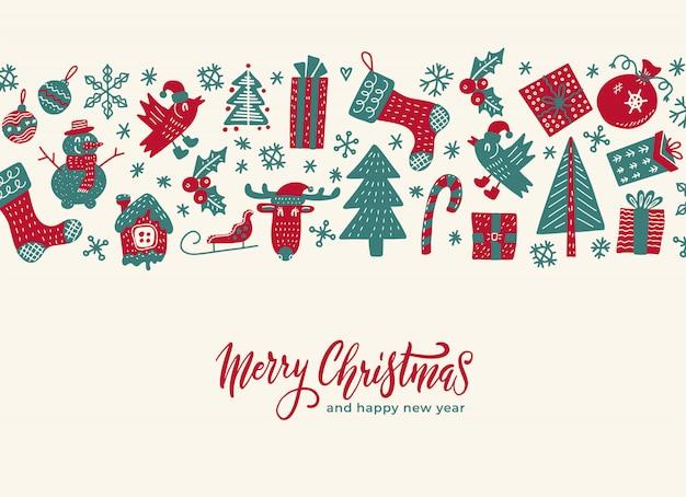 Vintage merry christmas wenskaart met patroon achtergrond