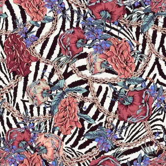 Vintage met rozen, kettingen en wilde bloemen naadloze patroon
