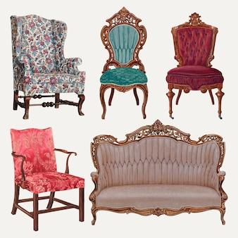 Vintage meubels illustratie vector set, geremixt uit publieke domein collectie