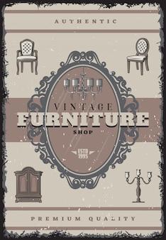 Vintage meubelwinkel poster met inscriptie retro kroonluchter kandelaar stoelen spiegelkast