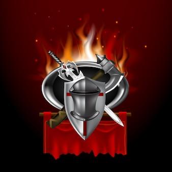 Vintage middeleeuws logo op rode banner. spelstijl