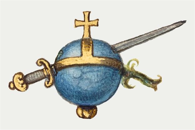 Vintage middeleeuws zwaard en bol