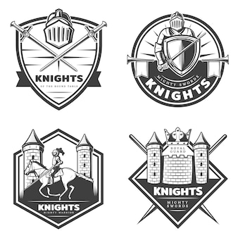 Vintage middeleeuwse emblemen set