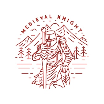 Vintage middeleeuwse ridder monoline badge