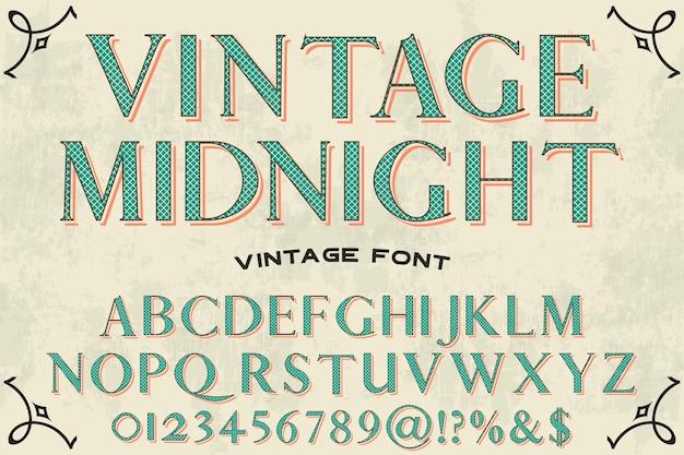 Vintage middernacht alfabet label ontwerp