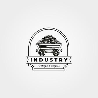 Vintage mijnbouw kar logo ontwerp