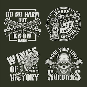 Vintage militaire badges instellen