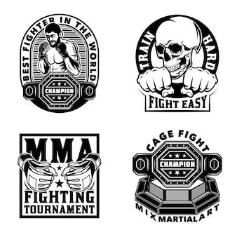 Vintage mixed martial arts emblemen set