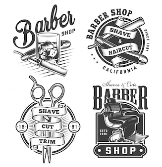 Vintage monochrome barbershop badges set