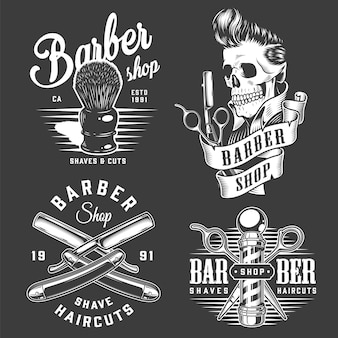 Vintage monochrome barbershop labels
