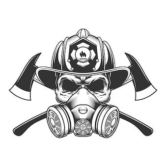 Vintage monochrome brandweerman schedel