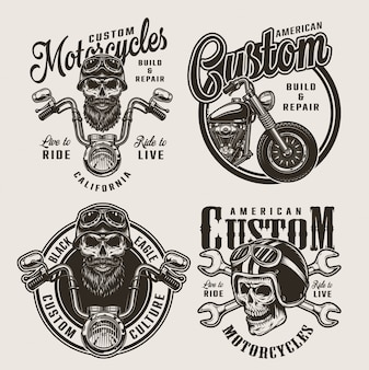 Vintage monochrome custom motorfiets badges