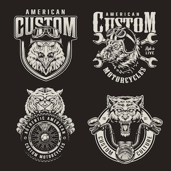 Vintage monochrome custom motorfiets emblemen
