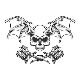 Vintage monochrome demon schedel met vleugels