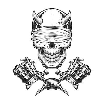 Vintage monochrome demon schedel Gratis Vector
