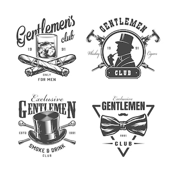 Vintage monochrome gentleman labels set