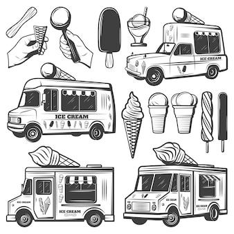 Vintage monochrome ice creams-collectie Gratis Vector