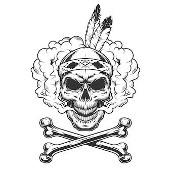 Vintage monochrome indiase krijger schedel