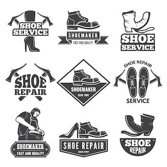 Vintage monochrome labels en logo's voor workshop schoenreparatie