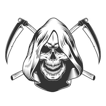 Vintage monochrome reaper schedel in capuchon