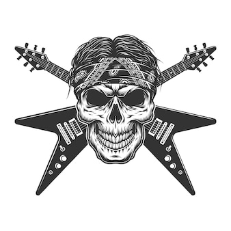 Vintage monochrome rockmuzikant schedel