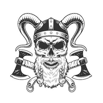 Vintage monochrome scandinavische viking schedel