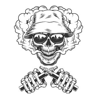 Vintage monochrome schedel in panama hoed