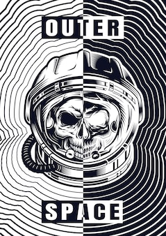 Vintage monochrome schedel poster