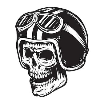 Vintage monochrome schedel rijder concept
