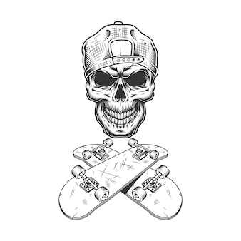 Vintage monochrome skateboarder schedel in cap