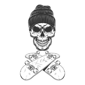 Vintage monochrome skateboarder schedel