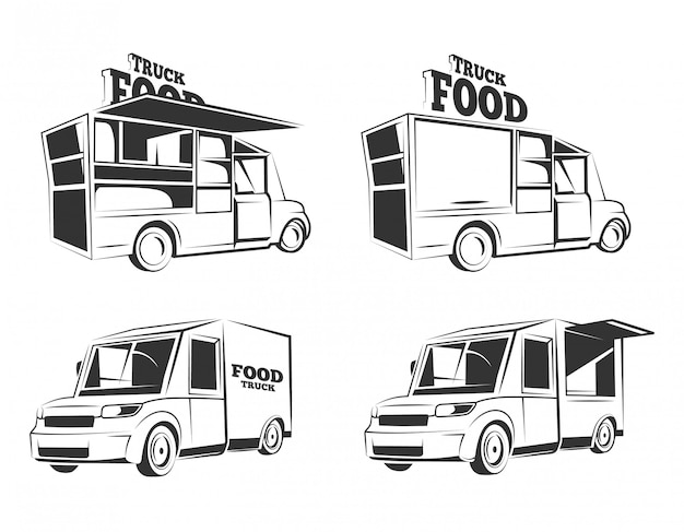 Vintage monochrome voedsel vrachtwagen illustratie set