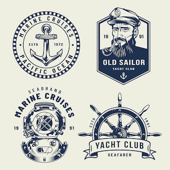Vintage monochrome zee en mariene etiketten