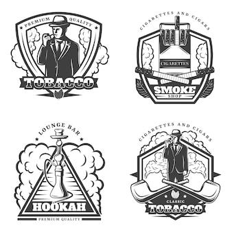 Vintage monochroom rook emblemen instellen