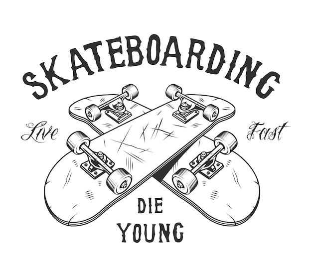 Vintage monochroom skateboarden activiteit logo