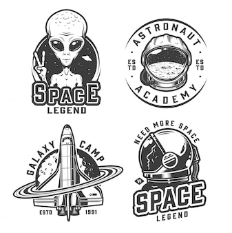 Vintage monochroom space badges set
