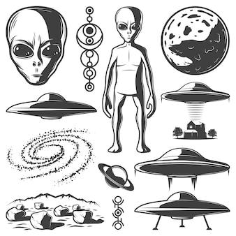 Vintage monochroom ufo-elementen instellen