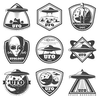Vintage monochroom ufo-etiketten instellen