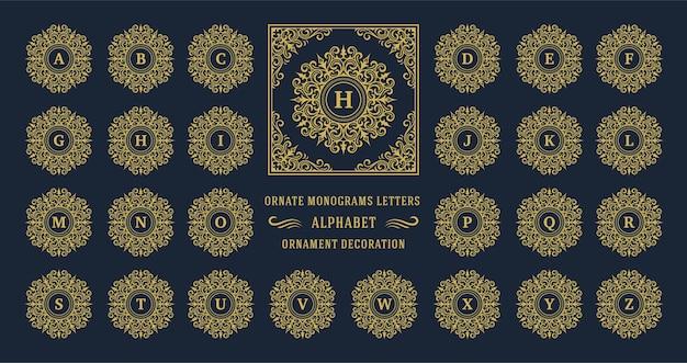 Vintage monogram alfabet brief met decoratief bloeien ornament frame