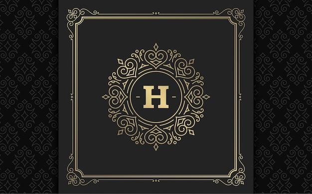 Vintage monogram logo elegant bloeit lijntekeningen sierlijke ornamenten victoriaanse stijl sjabloonontwerp