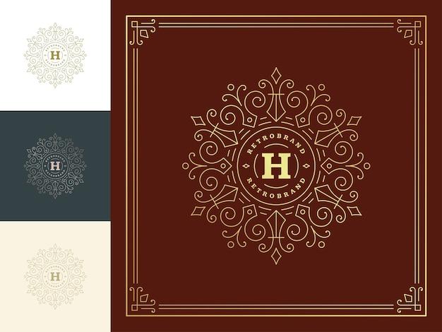 Vintage monogram logo elegant bloeit lijntekeningen sierlijke ornamenten victoriaanse stijlsjabloon.