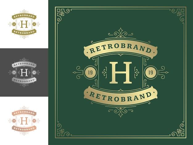Vintage monogram logo elegant bloeit lijntekeningen