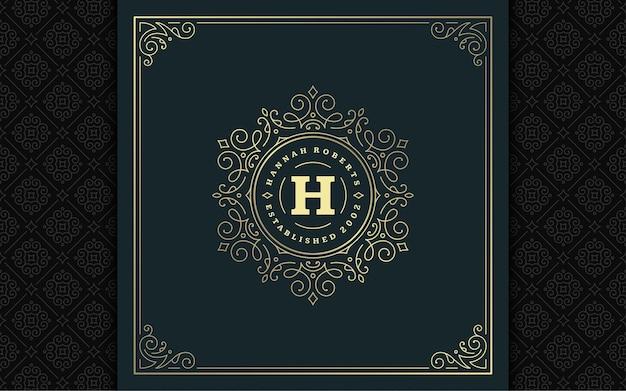 Vintage monogram logo elegante bloeit lijn kunst sierlijke ornamenten victoriaanse stijl vector sjabloonontwerp. klassiek kalligrafisch luxe embleem koninklijke heraldische boetiek, restaurantbord en sierlijk frame