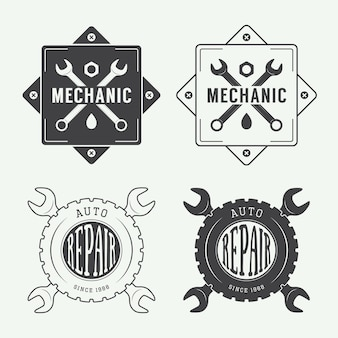 Vintage monteur label, embleem en logo. vector illustratie